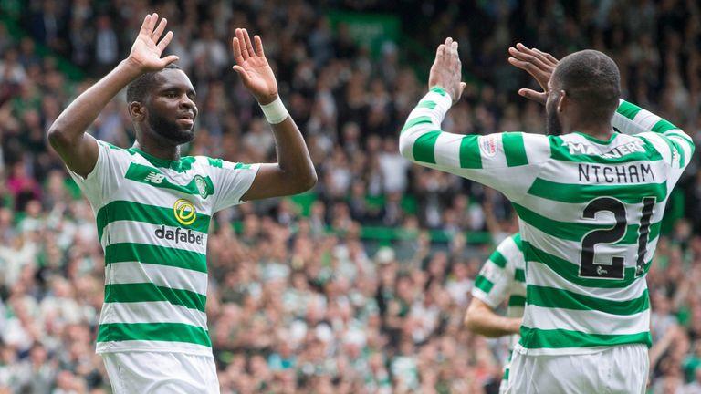 Celtic's Odsonne Edouard celebrates scoring his side's second goal against Livingston