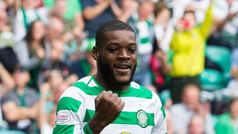 Celtic's Olivier Ntcham celebrates scoring the third