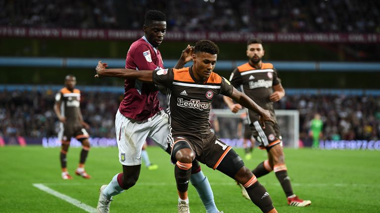 Ollie Watkins of Brentford battles for possession with Aston Villa's Axel Tuanzebe