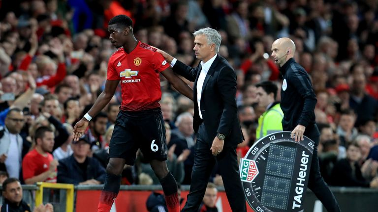 Paul Pogba is substituted by Jose Mourinho during the opening Premier League game against Leicester City
