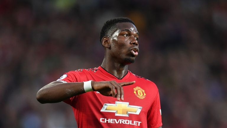 Paul Pogba during the Premier League match against Leicester City at Old Trafford
