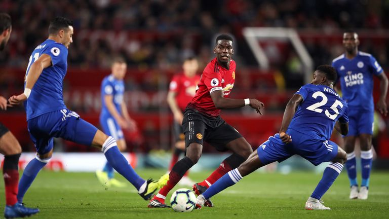 Manchester United's Paul Pogba in action during the opening 2018/19 Premier League match against Leicester City