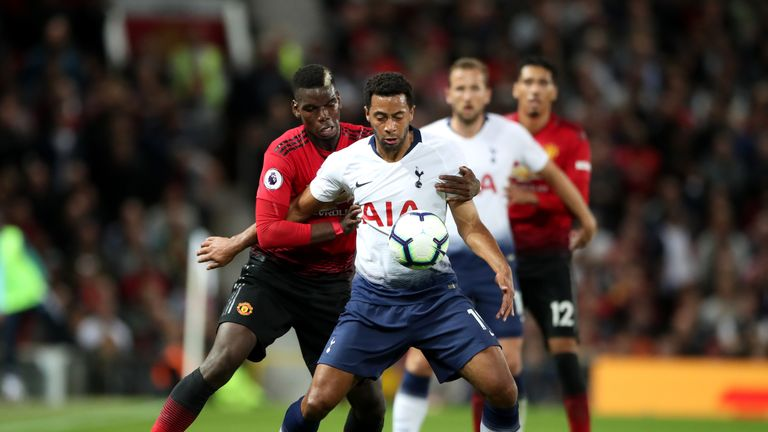 Mousa Dembele holds off the challenge of Paul Pogba