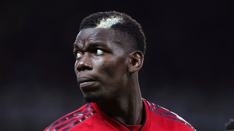Paul Pogba during the Premier League match between Manchester United and Tottenham Hotspur at Old Trafford