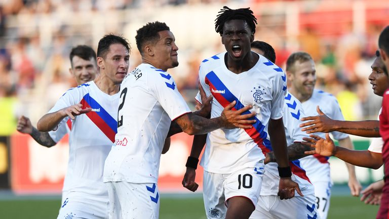 Rangers' Ovie Ejaria celebrates his goal to make it 1-0 and 2-0 on aggregate