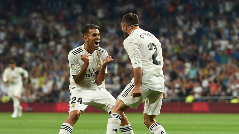 Dani Carvajal is congratulated by  Daniel Ceballos after his opening strike