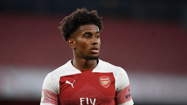 Reiss Nelson of Arsenal during the Premier League 2 match between Arsenal U23 and Brighton & Hove Albion U23 at Emirates Stadium on August 20, 2018 in London, England. (Photo by Stuart MacFarlane/Arsenal FC via Getty Images)