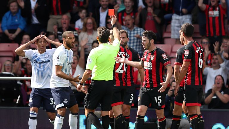 Richarlison saw red early on against Bournemouth