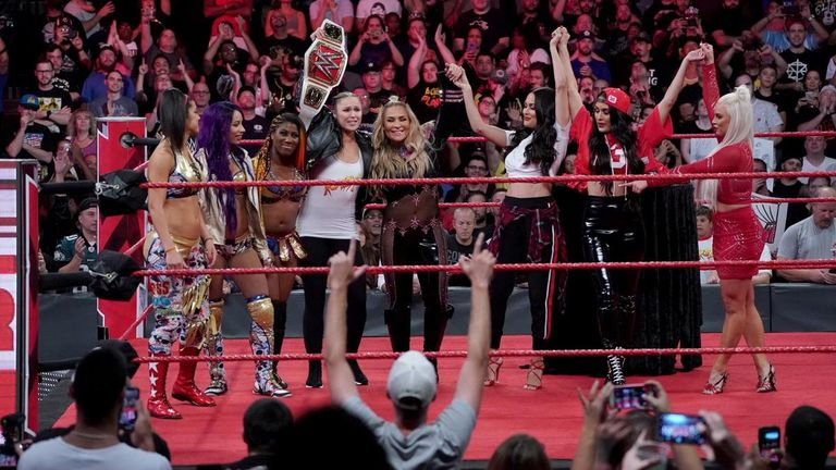 The entire Raw roster toasted Ronda Rousey's title win on Monday night - but one must come out of the pack to challenge her