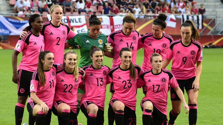 Scotland's defender Ifeoma Dieke, Scotland's defender Vaila Barsley, Scotland's goalkeeper Gemma Fay, Scotland's defender Rachel Corsie, Scotland's midfielder Leanne Crichton, Scotland's midfielder Caroline Weir, (L-R) Scotland's forward Lisa Evans, Scotland's forward Fiona Brown, Scotland's forward Jane Ross, Scotland's defender Chloe Arthur and Scotland's defender Frankie Brown pose for a group picture ahead of the UEFA Women's Euro 2017 football match between England and Scotland.