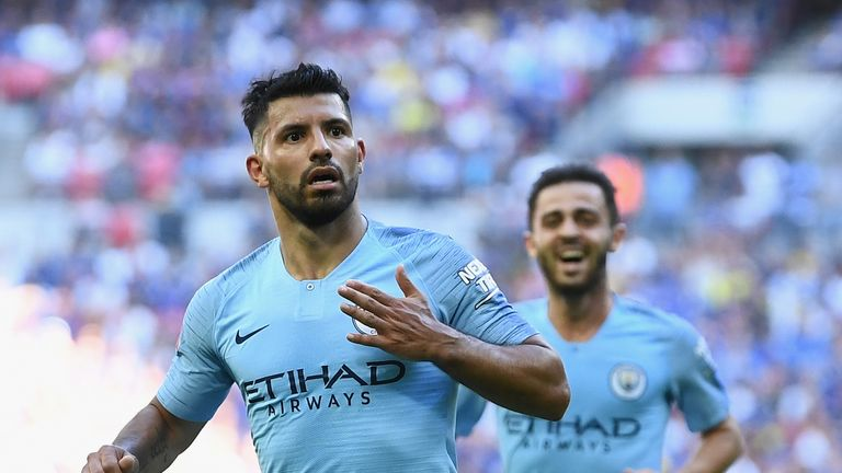 Sergio Aguero of Manchester City celebrates scoring his side's second goal during the FA Community Shield between Manchester City and Chelsea at Wembley Stadium on August 5, 2018 in London, England