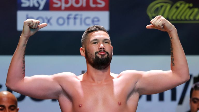 Tony Bellew weighs in  during the Weigh in ahead of the Heavyweight fight between Tony Bellew and David Haye at O2 Indigo on May 4, 2018
