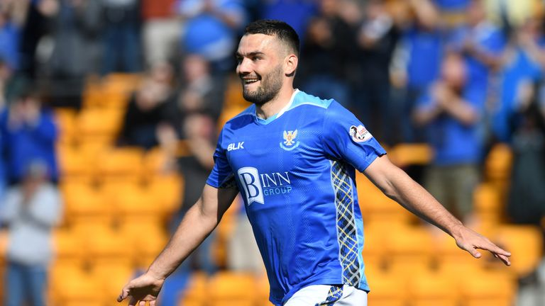 St Johnstone's Tony Watt celebrates his goal against Dundee earlier in the season