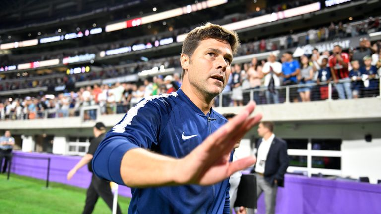 Tottenham Hotspur head coach Mauricio Pochettino leaves the field after the 1-0 defeat of AC Milan during the International Champions Cup  at U.S. Bank Stadium on July 31, 2018