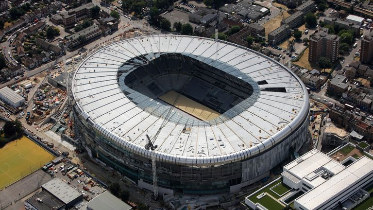 An aerial view as work continues on Tottenham Hotspur's new stadium at White Hart Lane on July 16, 2018