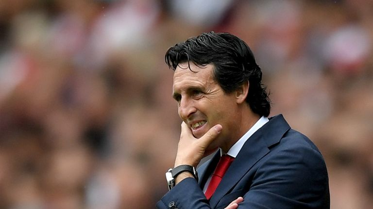Unai Emery during Arsenal v Man City