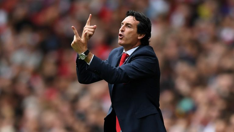 Unai Emery instructs him players during the Premier League match against Manchester City