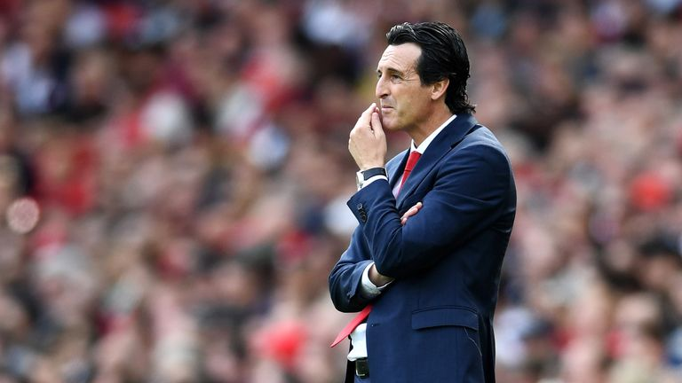 Unai Emery looks on during the Premier League match at the Emirates Stadium
