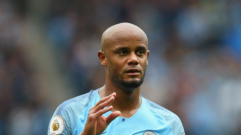 of Manchester City of Huddersfield Town during the Premier League match between Manchester City and Huddersfield Town at Etihad Stadium on August 19, 2018 in Manchester, United Kingdom.