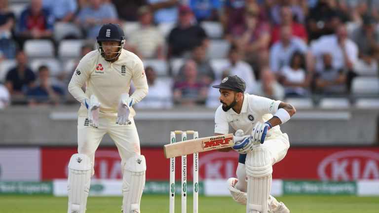 Virat Kohli was 43 not out at stumps with the game still in the balance