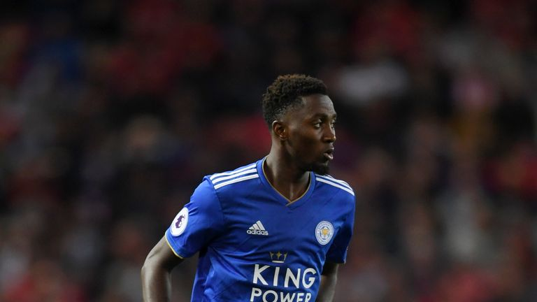 Onyinye Wilfred Ndidi of Leicester City runs with the ball during the Premier League match between Manchester United and Leicester City at Old Trafford on August 10, 2018 in Manchester, United Kingdom