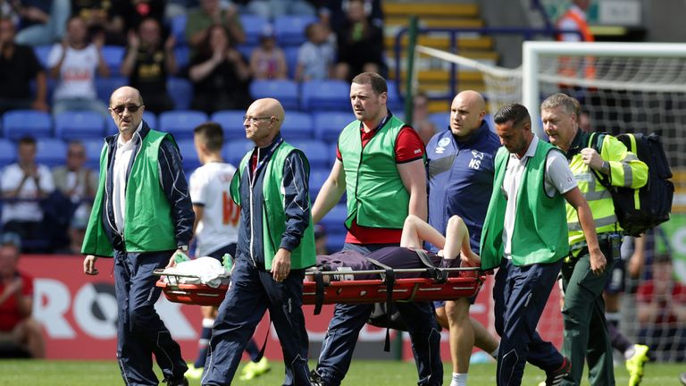 Will Hughes of Derby County is stretchered off the field after receiving an injury during the Sky Bet Championship match between Bolton Wanderers and Derby County at the Macron Stadium on August 8, 2015 in Bolton, England.