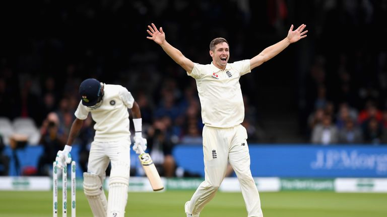 LONDON, ENGLAND - AUGUST 12:  Chris Woakes of England successfully appeals for the wicket of Hardik Pandya of India during day four of the 2nd Specsavers Test between England and India at Lord's Cricket Ground on August 12, 2018 in London, England.  (Photo by Gareth Copley/Getty Images)