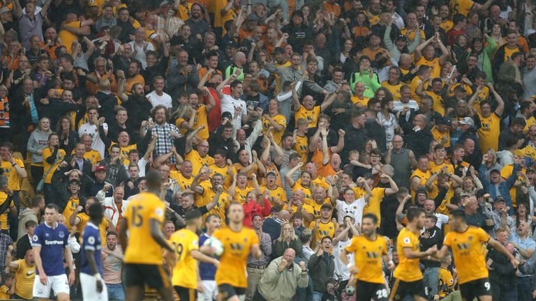 Wolves fans celebrate during their 2-2 home draw against Everton
