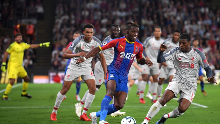 Wilfried Zaha during the Premier League match between Crystal Palace and Liverpool FC at Selhurst Park on August 20, 2018 in London, United Kingdom