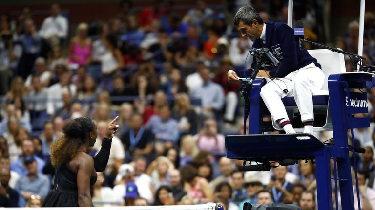 Williams was given three code violations by chair umpire Carlos Ramos, the third leading to an automatic loss of a game in the second set