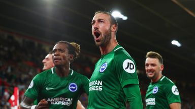Glenn Murray celebrates after his late penalty secured a 2-2 for Brighton at Southampton