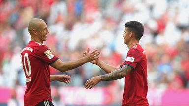 James Rodriguez and Arjen Robben were both on the scoresheet as Bayern Munich beat Bayer Leverkusen