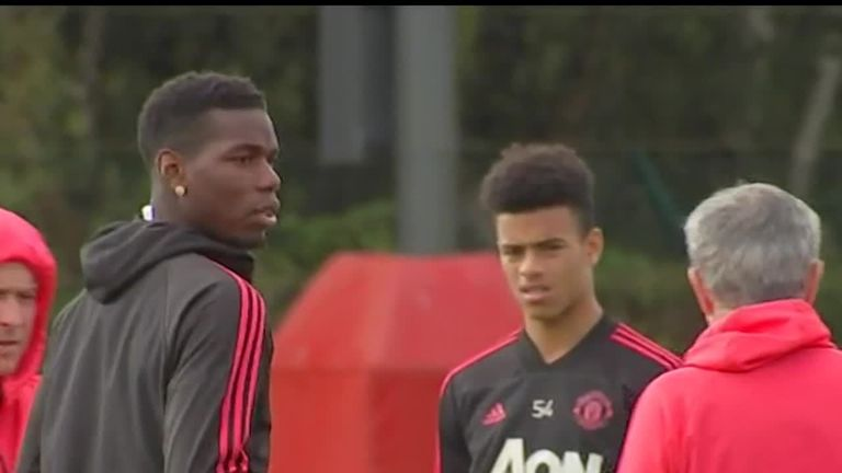 Frosty footage from Manchester United's training session involving Pogba and manager Jose Mourinho