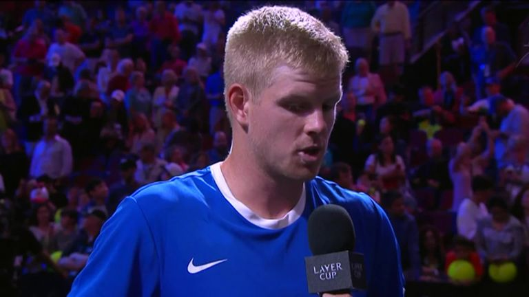 Edmund gives his reaction to Mark Petchey after claiming a fine win over Sock