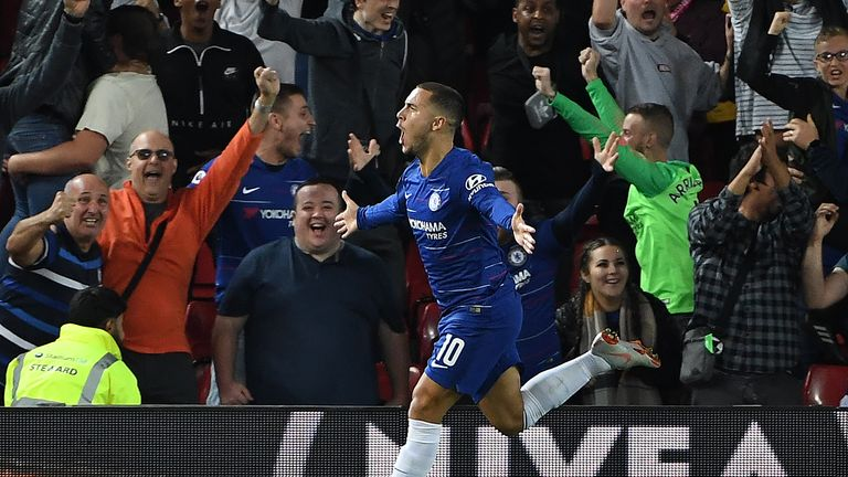 Eden Hazard celebrates after putting Chelsea 2-1 ahead