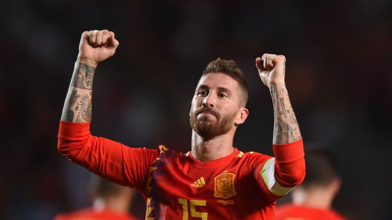 Sergio Ramos salutes the crowd after scoring Spain's fifth goal
