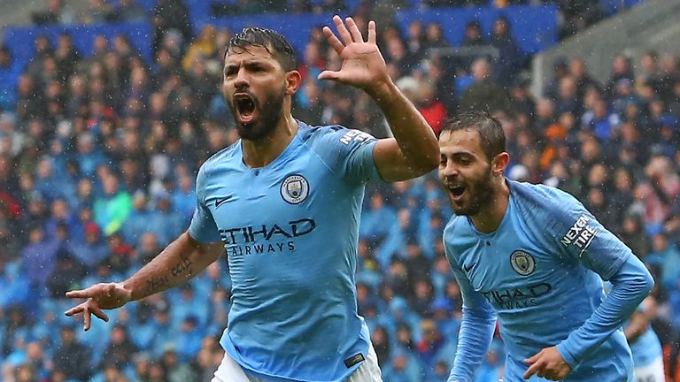 Sergio Aguero celebrates during Manchester City's game against Cardiff