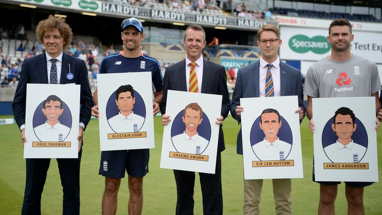 Cook (second left) was named in an all-time England XI earlier this year