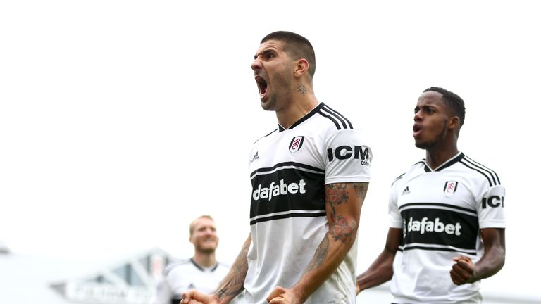 Fulham's Aleksandar Mitrovic celebrates his equaliser