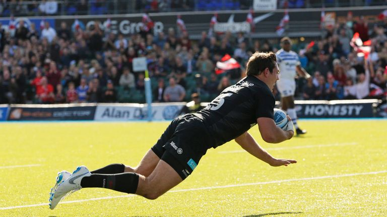 Alex Goode scores a try in Saracens' huge win over Bath