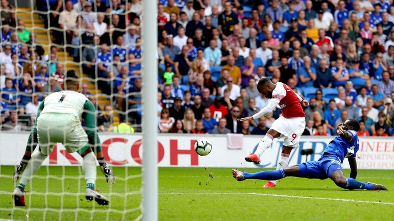 Alexandre Lacazette lashed in his first goal of the season to seal victory