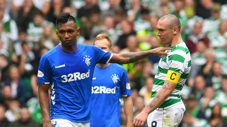 Alfredo Morelos shrugs off Scott Brown in what was a keenly-fought Old Firm clash