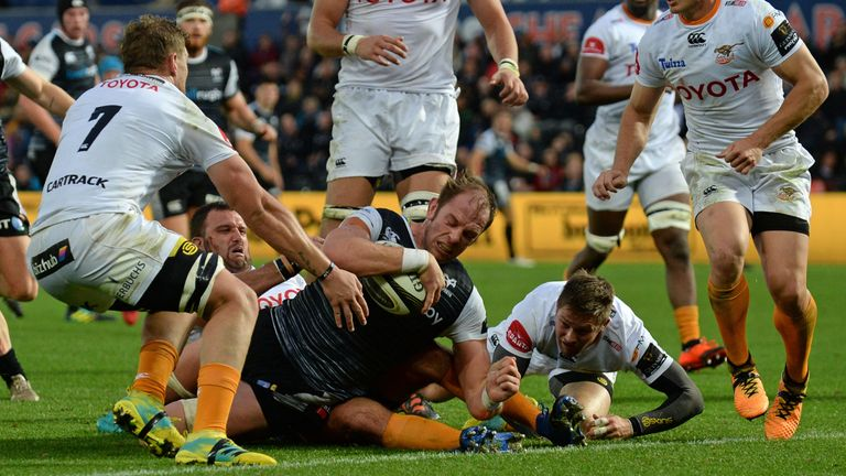 Ospreys' Alun Wyn Jones goes over for a try against the Cheetahs