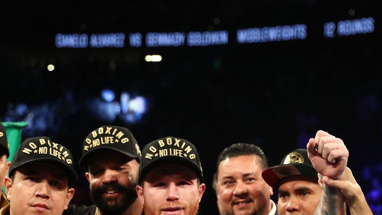 Gennady Golovkin Canelo Alvarez during their .WBC/WBA middleweight title fight at T-Mobile Arena on September 15, 2018 in Las Vegas, Nevada.