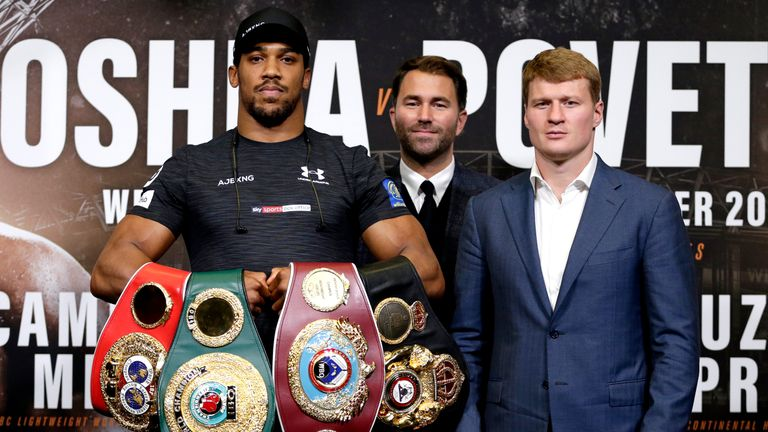 during the Anthony Joshua And Alexander Povetkin Press Conference on September 20, 2018 in London, England.