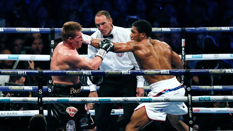 Anthony Joshua knocked down Alexander Povetkin in the seventh round.