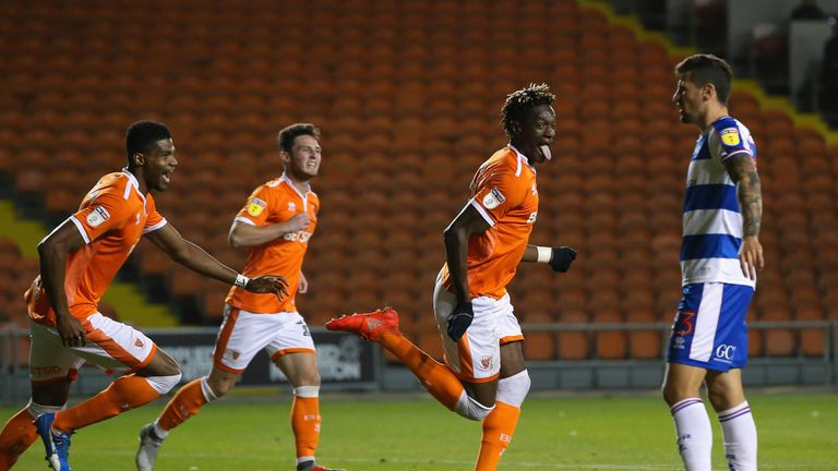 of Blackpool of Queens Park Rangers during the Carabao Cup Third Round match between Blackpool and Queens Park Rangers at Bloomfield Road on September 25, 2018 in Blackpool, England.