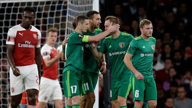 Arsenal conceded two late goals in a 4-2 win in the home game against Vorskla Poltava in September.
