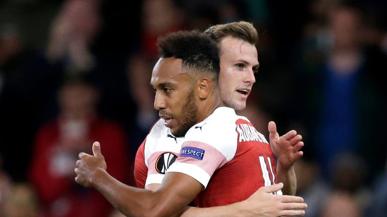 during the UEFA Europa League Group E match between Arsenal and Vorskla Poltava at Emirates Stadium on September 20, 2018 in London, United Kingdom.