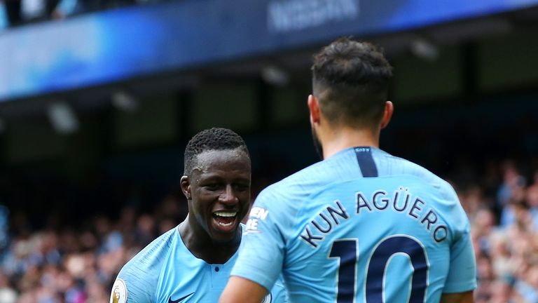 during the Premier League match between Manchester City and Huddersfield Town at Etihad Stadium on August 19, 2018 in Manchester, United Kingdom.